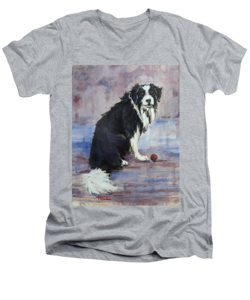 Men's V-Neck T-Shirt featuring the painting The Twilight Years by Cynthia House