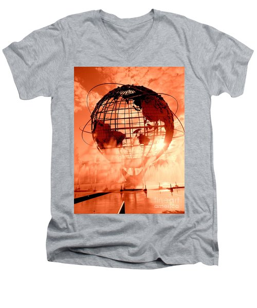 The Unisphere And Fountains Men's V-Neck T-Shirt