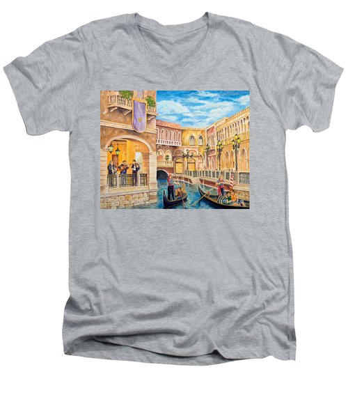 The Venetian Canal  Men's V-Neck T-Shirt