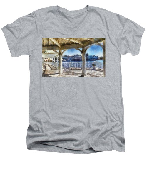 The View From The Boardwalk Gazebo Wdw 02 Photo Art Men's V-Neck T-Shirt by Thomas Woolworth