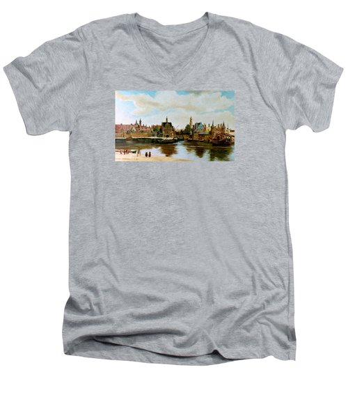 Men's V-Neck T-Shirt featuring the painting The View Of Delft by Henryk Gorecki