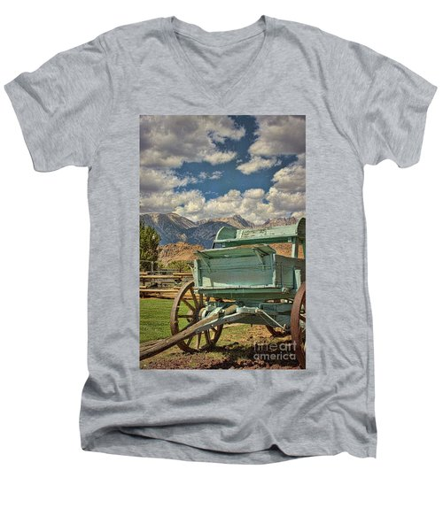The Wagon Men's V-Neck T-Shirt by Peggy Hughes