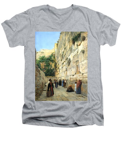 The Wailing Wall Jerusalem Men's V-Neck T-Shirt