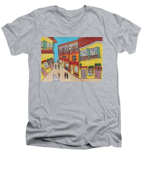 The Walled City Men's V-Neck T-Shirt by Artists With Autism Inc