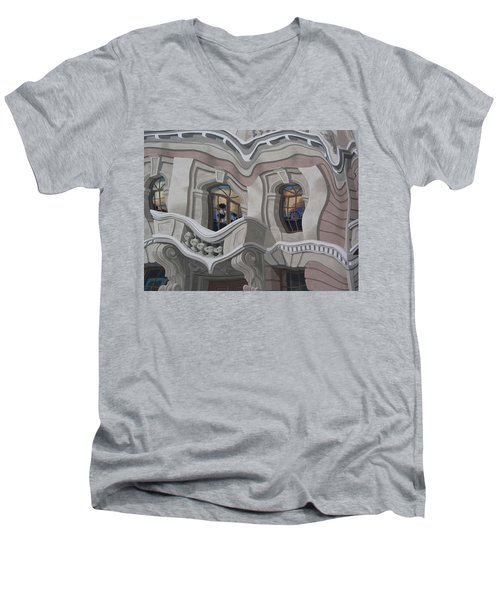 Men's V-Neck T-Shirt featuring the photograph The Walls Are Coming Down by Natalie Ortiz