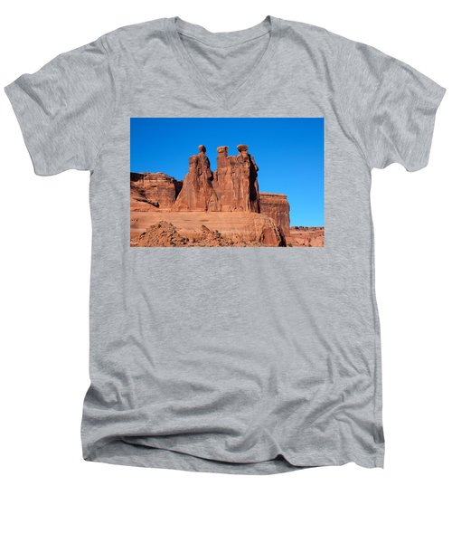 Men's V-Neck T-Shirt featuring the photograph The Watchers by John M Bailey