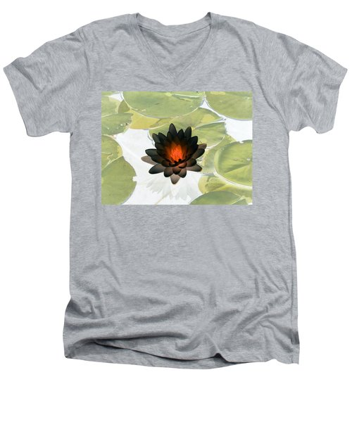 Men's V-Neck T-Shirt featuring the photograph The Water Lilies Collection - Photopower 1034 by Pamela Critchlow