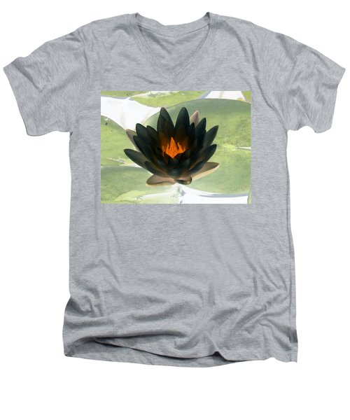 Men's V-Neck T-Shirt featuring the photograph The Water Lilies Collection - Photopower 1037 by Pamela Critchlow