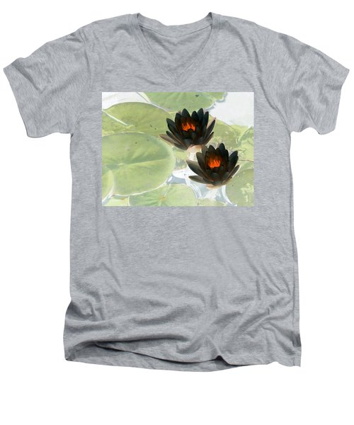 Men's V-Neck T-Shirt featuring the photograph The Water Lilies Collection - Photopower 1039 by Pamela Critchlow
