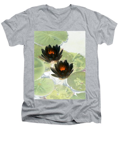 Men's V-Neck T-Shirt featuring the photograph The Water Lilies Collection - Photopower 1040 by Pamela Critchlow
