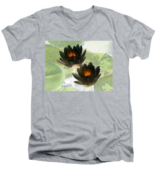 Men's V-Neck T-Shirt featuring the photograph The Water Lilies Collection - Photopower 1041 by Pamela Critchlow