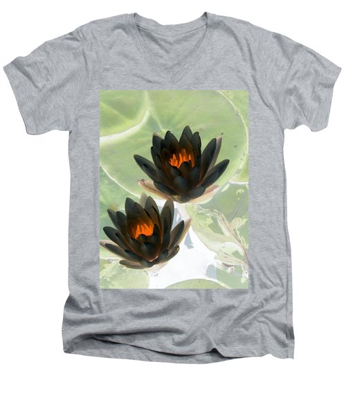 Men's V-Neck T-Shirt featuring the photograph The Water Lilies Collection - Photopower 1046 by Pamela Critchlow