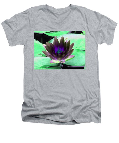 Men's V-Neck T-Shirt featuring the photograph The Water Lilies Collection - Photopower 1116 by Pamela Critchlow
