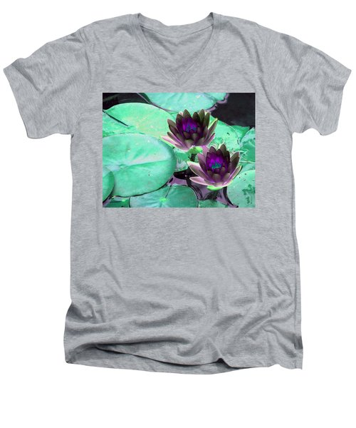 Men's V-Neck T-Shirt featuring the photograph The Water Lilies Collection - Photopower 1118 by Pamela Critchlow