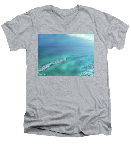 The Wave Men's V-Neck T-Shirt by Becky Lupe