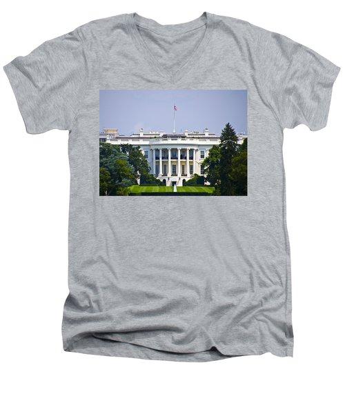The Whitehouse - Washington Dc Men's V-Neck T-Shirt by Bill Cannon