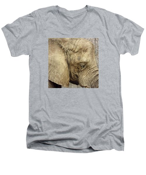 Men's V-Neck T-Shirt featuring the photograph The Wise Old Elephant by Nikki McInnes