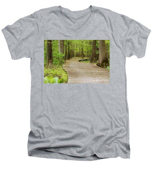 The Wooden Path Men's V-Neck T-Shirt by Patrick Shupert