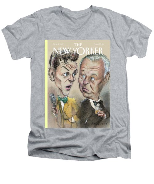 The Young Frank Sinatra Looking At The Old Frank Men's V-Neck T-Shirt