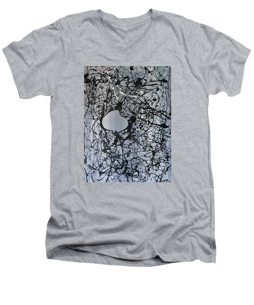 Men's V-Neck T-Shirt featuring the painting There Is A Hole In The Bucket by Michael Cross