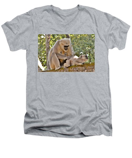 There Is Nothing Like A  Backscratch - Monkeys Rishikesh India Men's V-Neck T-Shirt