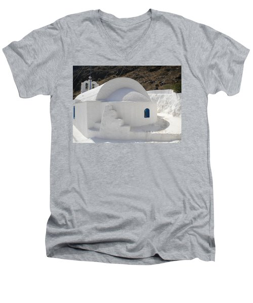 Men's V-Neck T-Shirt featuring the photograph Thirasia Church Santorini Greece by Colette V Hera  Guggenheim