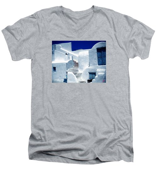 Thirasia Island Ancient House Near Santorini Greece Men's V-Neck T-Shirt