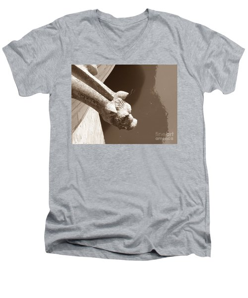 Men's V-Neck T-Shirt featuring the photograph Thirsty Gargoyle - Sepia by HEVi FineArt