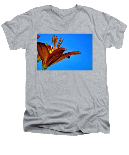 Thirsty Lily In Hdr Art  Men's V-Neck T-Shirt