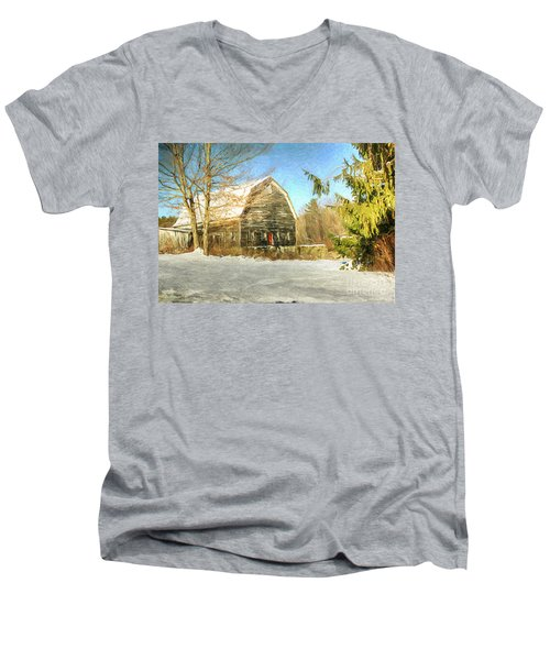 This Old Barn Men's V-Neck T-Shirt by Tina  LeCour