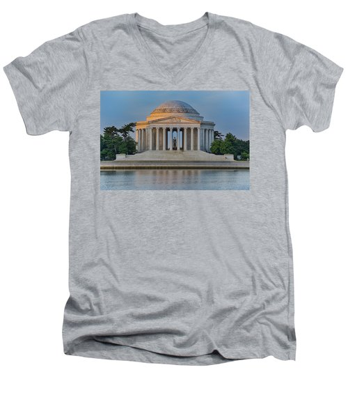 Men's V-Neck T-Shirt featuring the photograph Thomas Jefferson Memorial At Sunrise by Sebastian Musial