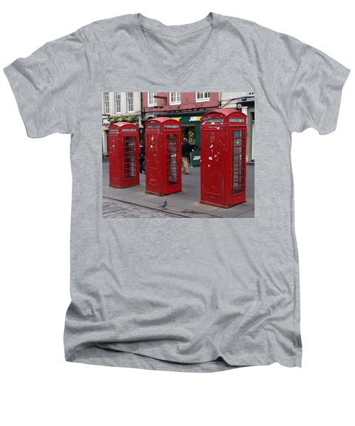 Those Red Telephone Booths Men's V-Neck T-Shirt