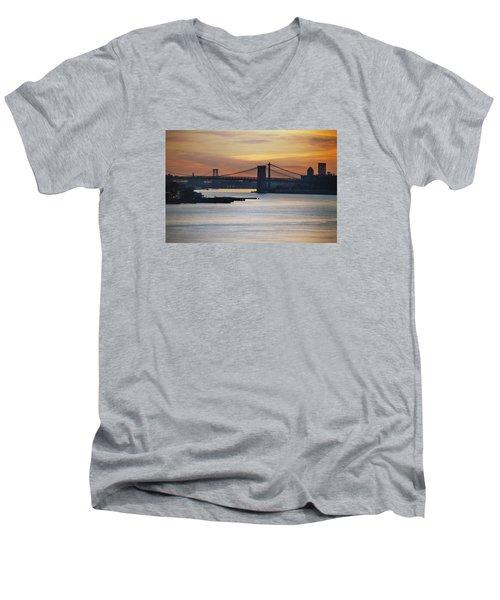 Three Bridges Men's V-Neck T-Shirt by John Schneider