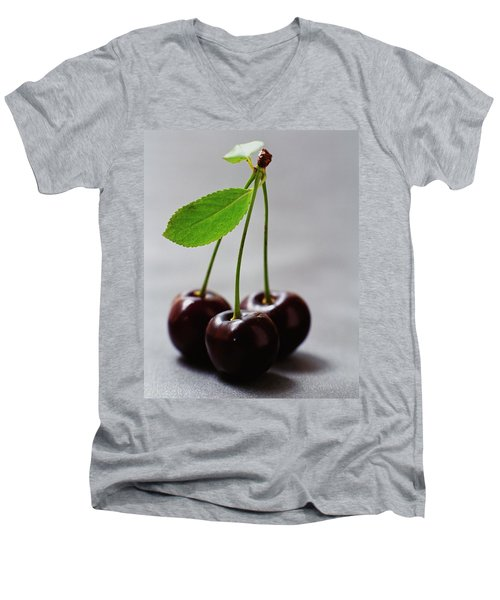 Three Cherries On A Stem Men's V-Neck T-Shirt