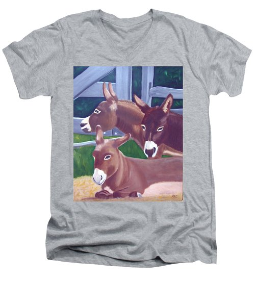Three Donkeys Men's V-Neck T-Shirt
