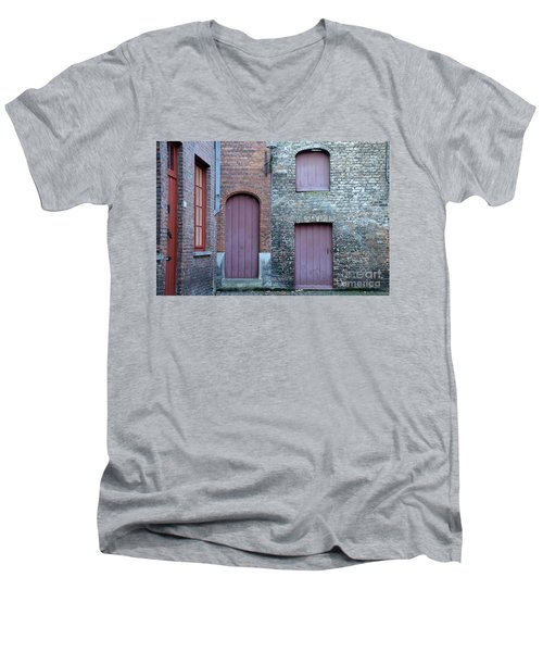Three Doors And Two Windows Bruges, Belgium Men's V-Neck T-Shirt