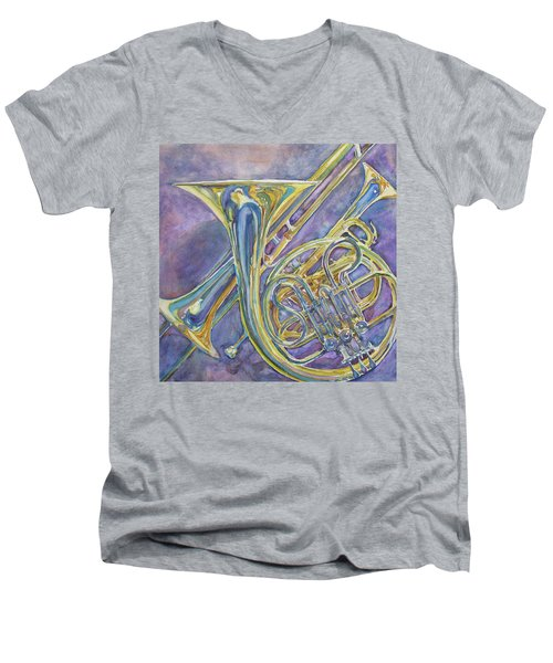 Three Horns Men's V-Neck T-Shirt by Jenny Armitage