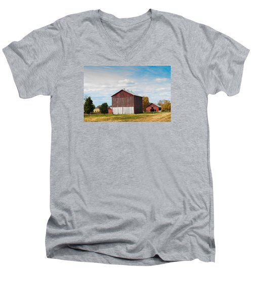 Men's V-Neck T-Shirt featuring the photograph Three In One Barns by Debbie Green