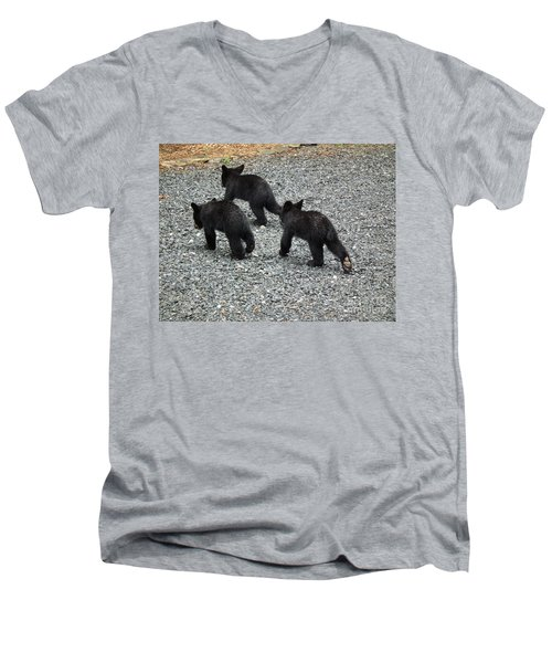 Men's V-Neck T-Shirt featuring the photograph Three Little Bears In Step by Jan Dappen