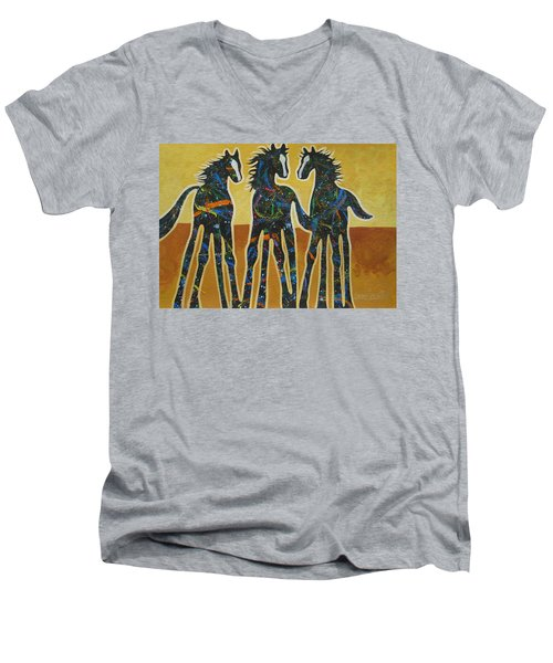 Three Ponies Men's V-Neck T-Shirt by Lance Headlee