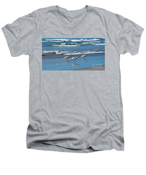 Men's V-Neck T-Shirt featuring the photograph Three Seagulls At Ocean Shore Art Prints by Valerie Garner