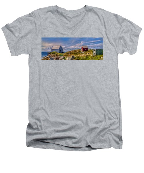 Three Shacks By The Sea Men's V-Neck T-Shirt