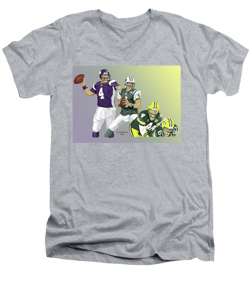 Three Stages Of Bret Favre Men's V-Neck T-Shirt