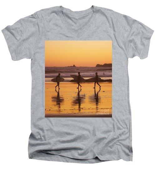 Three Surfers At Sunset Men's V-Neck T-Shirt