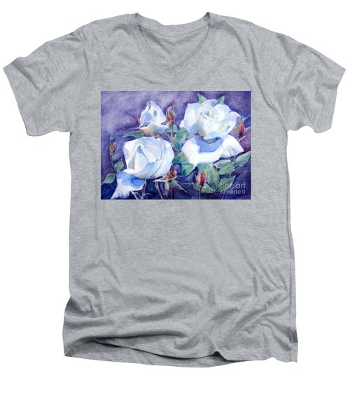 Men's V-Neck T-Shirt featuring the painting White Roses With Red Buds On Blue Field by Greta Corens