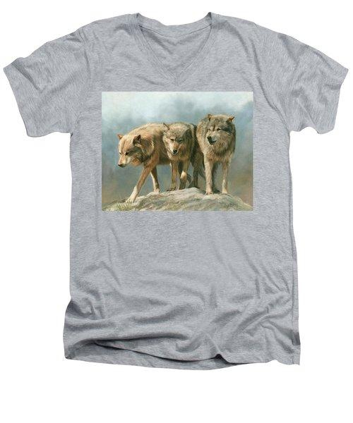Three Wolves Men's V-Neck T-Shirt
