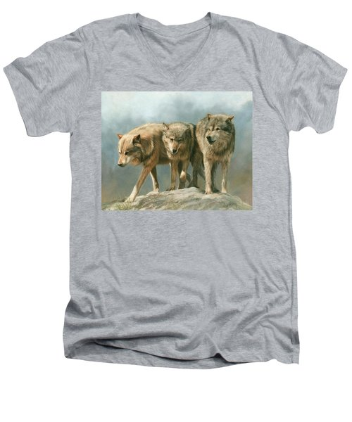 Three Wolves Men's V-Neck T-Shirt by David Stribbling
