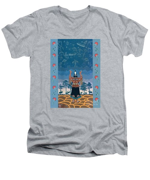 Men's V-Neck T-Shirt featuring the painting Thunder Girl II by Chholing Taha