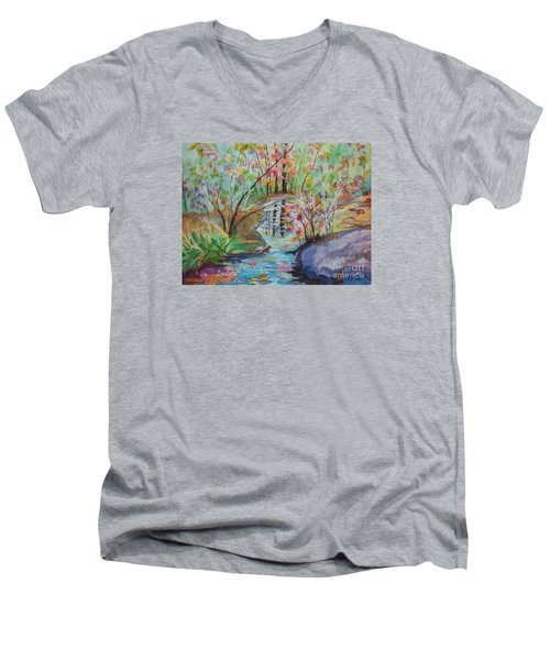 Men's V-Neck T-Shirt featuring the painting Thunder Mountain Mystery by Ellen Levinson
