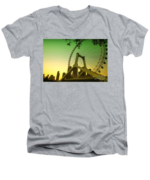 Tianjin Eye  Men's V-Neck T-Shirt